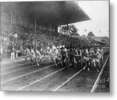 The Olympic Games Metal Print featuring the photograph Start Of 3,000 Meter Olympic Race by Bettmann