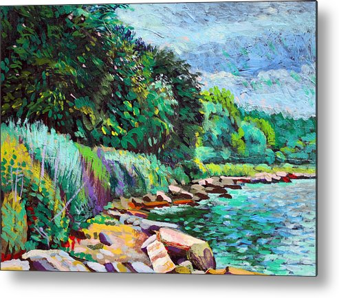 Tranquility Metal Print featuring the digital art Summer Shore Of Hudson River, New York by Charles Harker