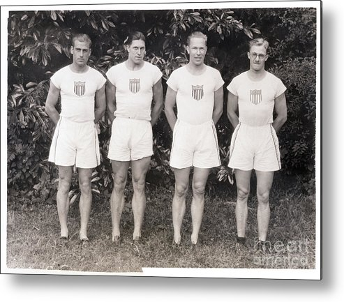 The Olympic Games Metal Print featuring the photograph U.s. Olympic Decathlon Team by Bettmann