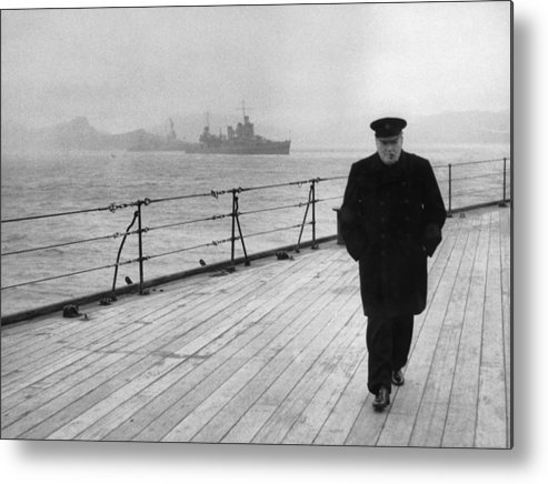 Winston Churchill Metal Print featuring the photograph Winston Churchill At Sea by War Is Hell Store