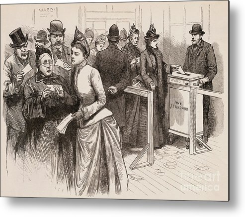 Art Metal Print featuring the photograph Women Voting In Election by Bettmann
