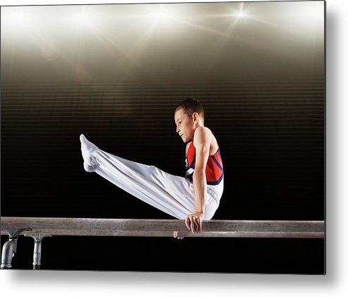 Focus Metal Print featuring the photograph Young Male Gymnast Performing On by Robert Decelis Ltd
