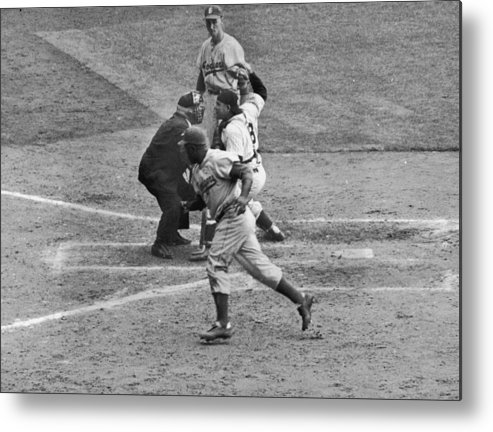 People Metal Print featuring the photograph Jackie Robinson and Yogi Berra by Hulton Archive