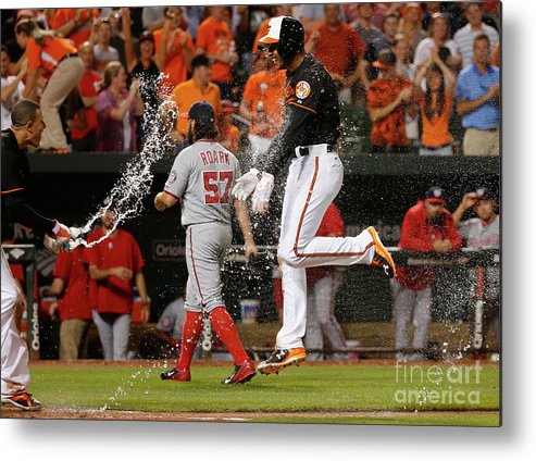 Ninth Inning Metal Print featuring the photograph Manny Machado and Jonathan Schoop by Rob Carr