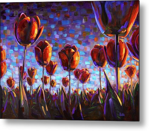 Metal Print featuring the painting Tulips at Dawn by Rob Buntin