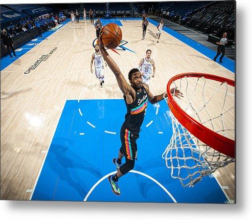 Nba Pro Basketball Metal Print featuring the photograph San Antonio Spurs v Oklahoma City Thunder by Zach Beeker