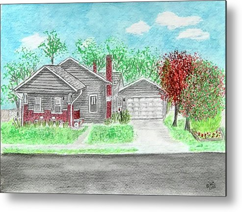 Craftsman Bungalow Metal Print featuring the painting 1926 Craftsman Bungalow by Kathy Marrs Chandler