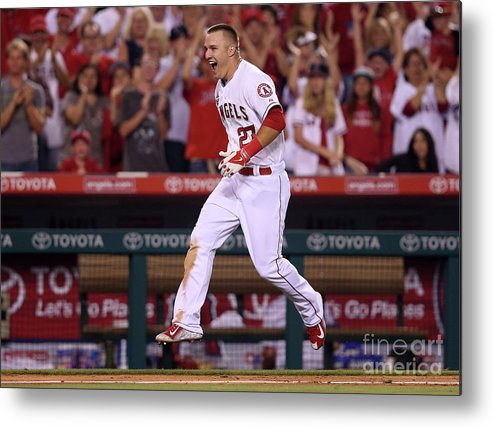 Ninth Inning Metal Print featuring the photograph Mike Trout by Stephen Dunn