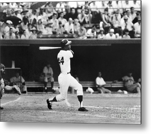 Sports Bat Metal Print featuring the photograph Hank Aaron by National Baseball Hall Of Fame Library