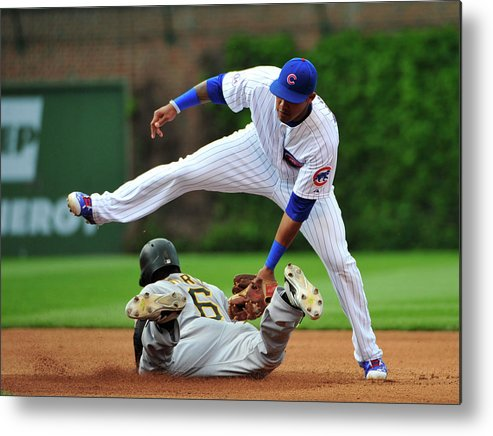 People Metal Print featuring the photograph Addison Russell and Starling Marte by David Banks