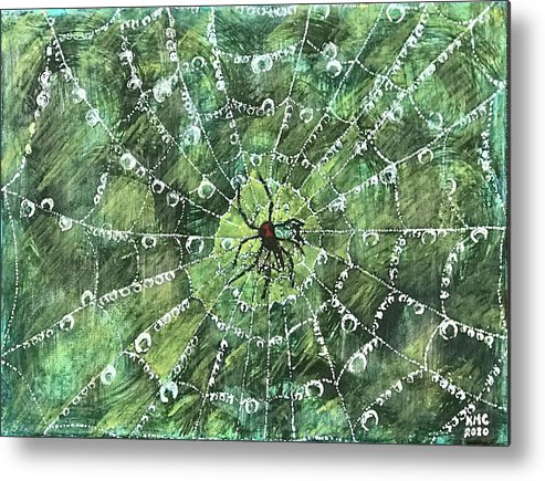 Spider Metal Print featuring the painting After The Storm by Kathy Marrs Chandler