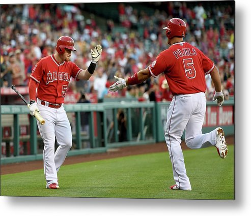 People Metal Print featuring the photograph Albert Pujols and Kole Calhoun by Harry How