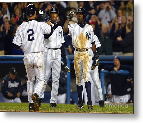 Alfonso Soriano Metal Print featuring the photograph Alfonso Soriano, Derek Jeter, and Bernie Williams by Al Bello