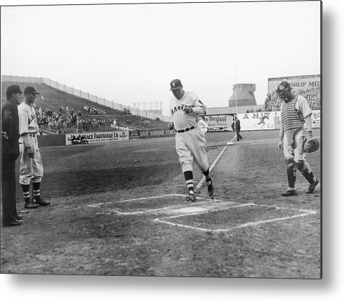 Baseball Cap Metal Print featuring the photograph Babe Ruth by Fpg