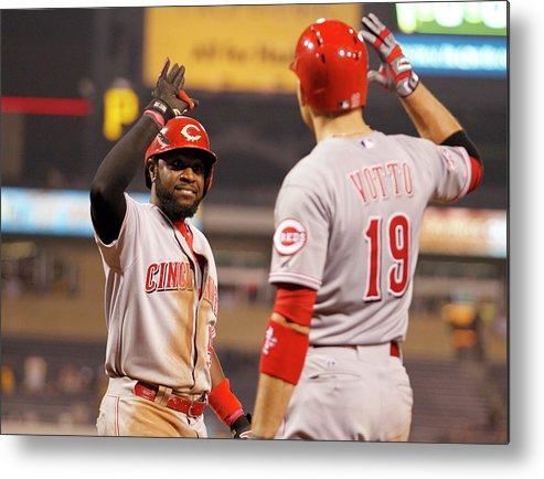 People Metal Print featuring the photograph Brandon Phillips and Joey Votto by Justin K. Aller