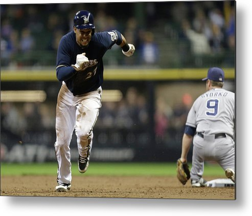 2nd Base Metal Print featuring the photograph Carlos Gomez by Mike Mcginnis