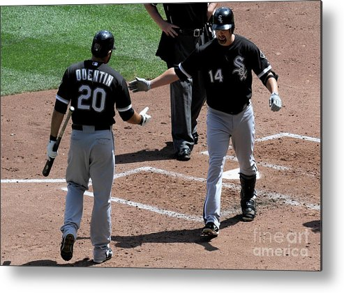 People Metal Print featuring the photograph Carlos Quentin and Paul Konerko by Hannah Foslien