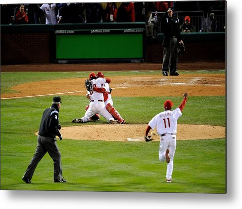 Baseball Catcher Metal Print featuring the photograph Carlos Ruiz, Brad Lidge, and Jimmy Rollins by Jeff Zelevansky