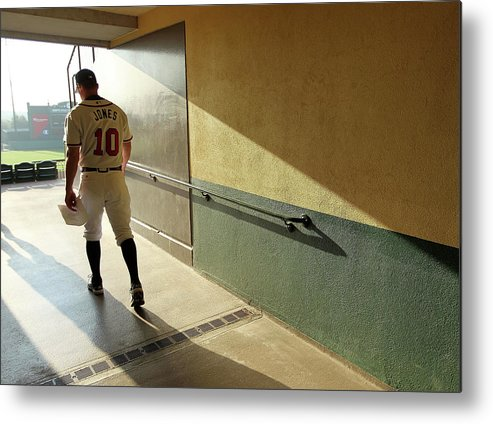Media Day Metal Print featuring the photograph Chipper Jones by Mike Ehrmann