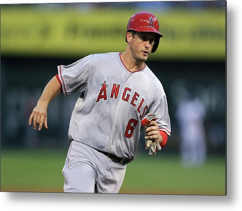 American League Baseball Metal Print featuring the photograph Chris Iannetta and David Freese by Ed Zurga