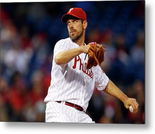 Citizens Bank Park Metal Print featuring the photograph Cliff Lee by Rich Schultz
