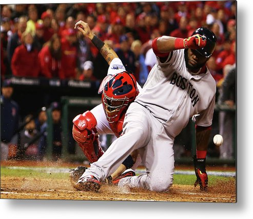 American League Baseball Metal Print featuring the photograph David Ortiz, Stephen Drew, and Lance Lynn by Dilip Vishwanat