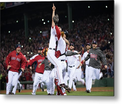 Playoffs Metal Print featuring the photograph David Ross and Koji Uehara by Ron Vesely