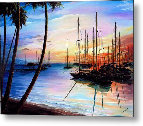 Ocean Painting Seascape Yacht Painting Sailboat Painting Sunset Painting Tropical Painting Caribbean Painting Yacht Painting At The End Of A Yachting Regatta At Pigeon Point Tobago Painting Metal Print featuring the painting DAYS END Yachting Regatta At Pigeon Point Tobago by Karin Dawn Kelshall- Best