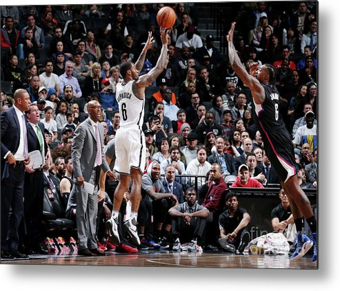 Nba Pro Basketball Metal Print featuring the photograph Deandre Jordan and Sean Kilpatrick by Nathaniel S. Butler