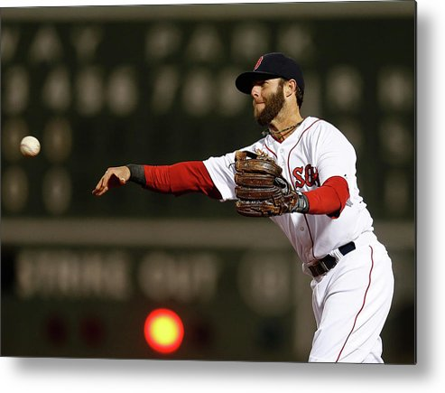 American League Baseball Metal Print featuring the photograph Dustin Pedroia and Adam Jones by Jim Rogash