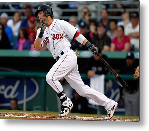 American League Baseball Metal Print featuring the photograph Dustin Pedroia by J. Meric