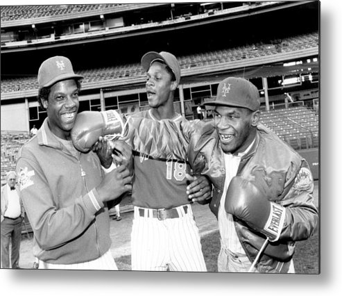 Event Metal Print featuring the photograph Dwight Gooden, Darryl Strawberry, and Mike Tyson by New York Daily News Archive
