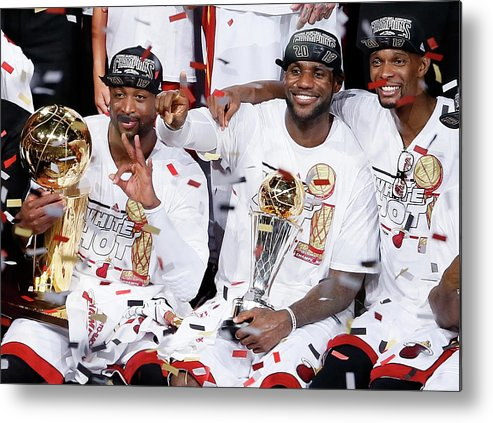 Playoffs Metal Print featuring the photograph Dwyane Wade, Chris Bosh, and Lebron James by Kevin C. Cox