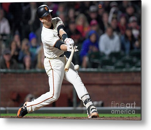 San Francisco Metal Print featuring the photograph Eduardo Nunez and Buster Posey by Thearon W. Henderson