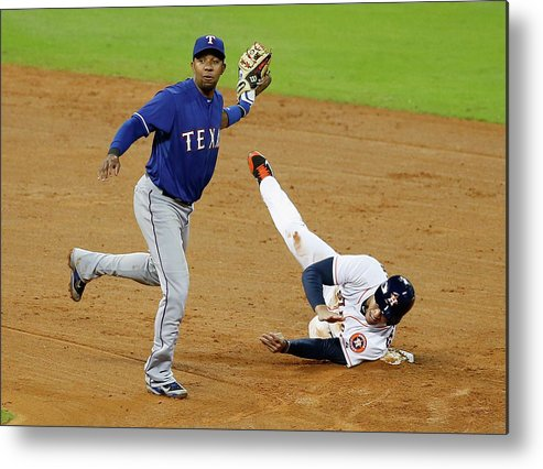 American League Baseball Metal Print featuring the photograph Elvis Andrus and George Springer by Scott Halleran