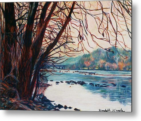 New River Metal Print featuring the pastel Fall on the New River by Kendall Kessler