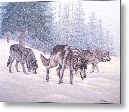 Winter Metal Print featuring the painting Following the Scent by Richard De Wolfe