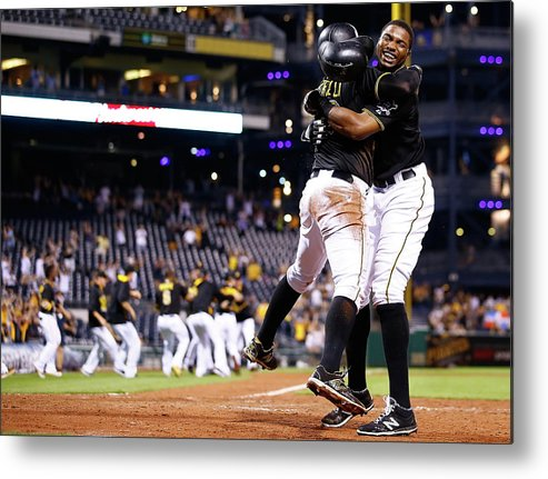 People Metal Print featuring the photograph Francisco Cervelli and Gregory Polanco by Jared Wickerham