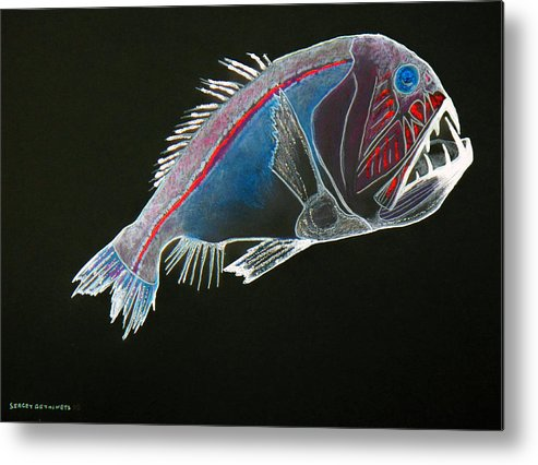 Fossil Metal Print featuring the drawing From The Abyss by Sergey Bezhinets