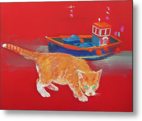 Cat Metal Print featuring the painting Ginger Tabby Cat by Charles Stuart