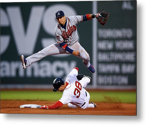 Double Play Metal Print featuring the photograph Grady Sizemore and Ramiro Pena by Jared Wickerham