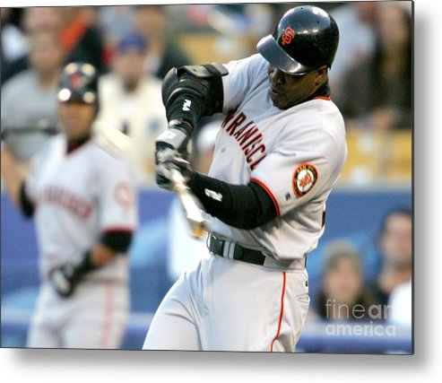 California Metal Print featuring the photograph Hideo Nomo and Barry Bonds by Jon Soohoo