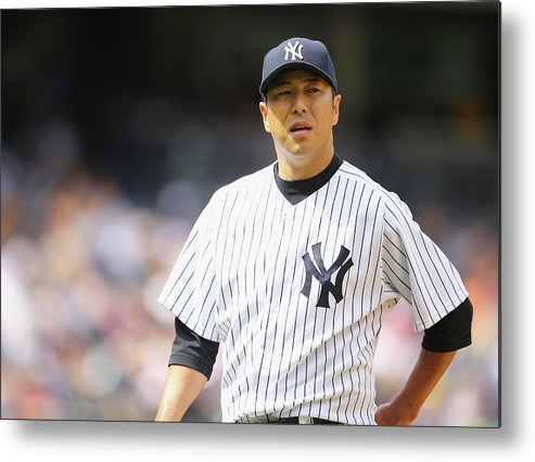 American League Baseball Metal Print featuring the photograph Hiroki Kuroda by Al Bello