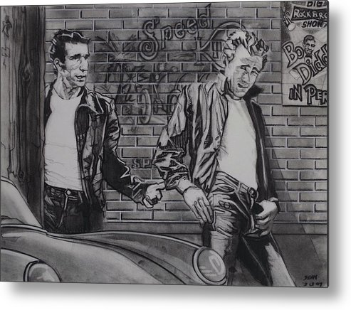 Charcoal On Paper Metal Print featuring the drawing James Dean Meets The Fonz by Sean Connolly
