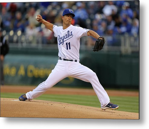 American League Baseball Metal Print featuring the photograph Jeremy Guthrie by Ed Zurga
