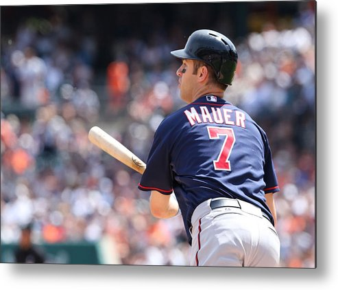 Joe Mauer Metal Print featuring the photograph Joe Mauer by Leon Halip