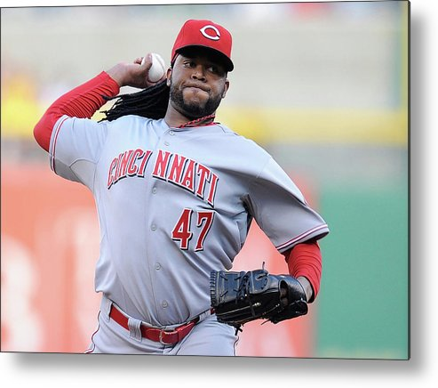Pnc Park Metal Print featuring the photograph Johnny Cueto by Joe Sargent