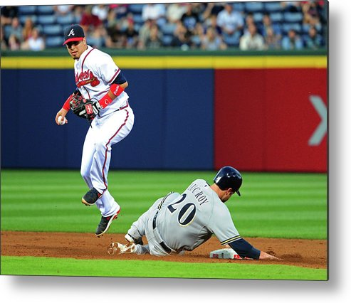 Atlanta Metal Print featuring the photograph Jonathan Lucroy and Ramiro Pena by Scott Cunningham