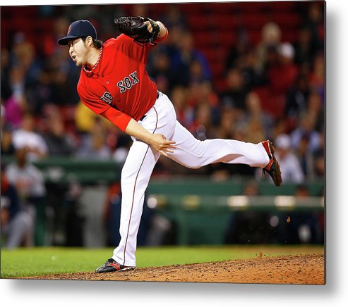 American League Baseball Metal Print featuring the photograph Junichi Tazawa by Jared Wickerham
