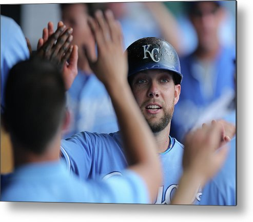 Second Inning Metal Print featuring the photograph Justin Maxwell and Alex Gordon by Ed Zurga